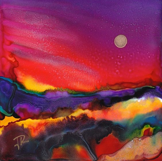 Alcohol Bright Landscape by June Rollins