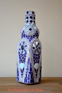 glass mosaic bottle blue