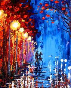 Create a Leonid Afremov style Colorful Rainy Evening