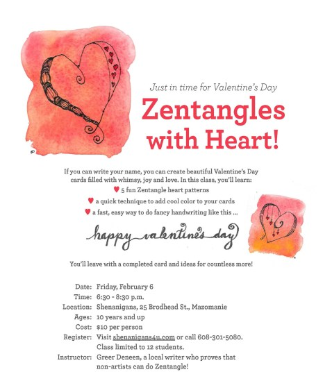 valentine zentangle class flyer